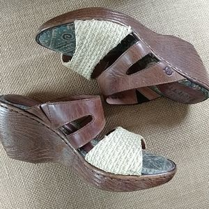 BORN | Leather Brown Woven Fabric Wedge Sandals